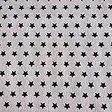 Staab's Beschichtete Baumwolle Dekostoff beige/Schwarze Sterne (Meterware, Qualität Zum Nähen) (100 x 140 cm)