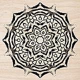Cuadros Lifestyle 2D-Wandobjekt aus Holz | Mandala | Holzbild | Shabby-Look | Landhaus | Vintage | Holzobjekt | Deko | Holzdruck | Geschenk, Größe:ca. 50x50cm