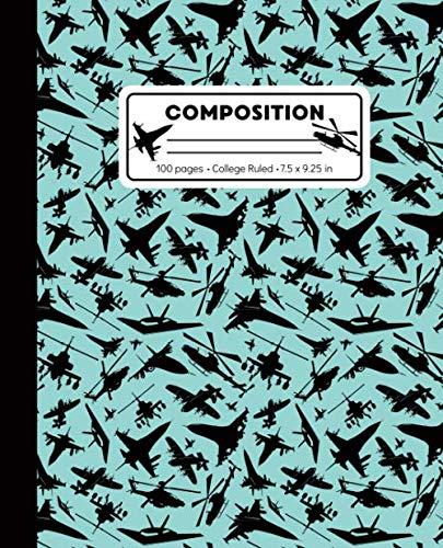 Preisvergleich Produktbild Composition: College Ruled Writing Notebook,  XXX Airplane Jet Pattern Marbled Blank Lined Book