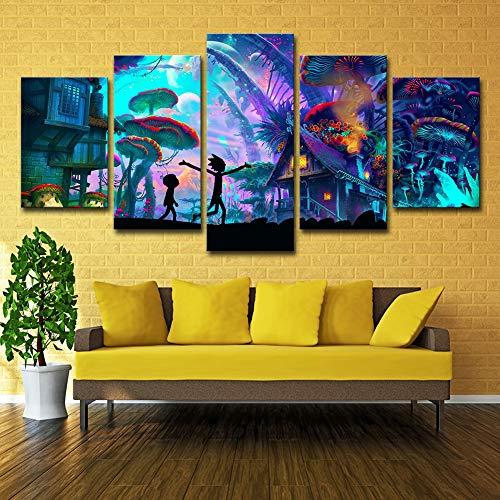 ZEMER Wand-dekor Rick and Morty Poster Wandkunst Bild Leinwanddrucke Malerei 5 Panels Modern Für Kinderzimmer Home Decor,A,30x45x2+30x60x2+30x75x1 -