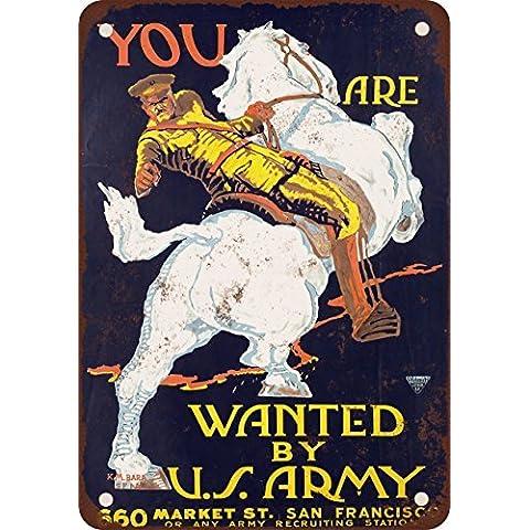 1915Que Son buscados por el Ejército de Estados Unidos Vintage Look reproducción Metal Tin Sign 7X 10pulgadas