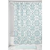 iDesign Kenzie Floral Duschvorhang | 183,0 cm x 183,0 cm großer Dusche Vorhang | Duschvorhang mit Ösen und tollem Muster | auch für Eckbadewannen | Polyester türkis