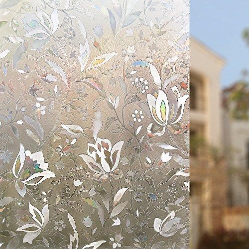 Halloween Dekor Fenster (Rabbitgoo 3D hochwertige Premium No-Kleber Wiederverwendbare Statische erhellende Dekorative Privatleben Frost Glas-Fenster-Film-Aufkleber Anti-UV-44.5cm x 200cm Blumen-Entwurf | Upgrade-Version für Heim Kueche)