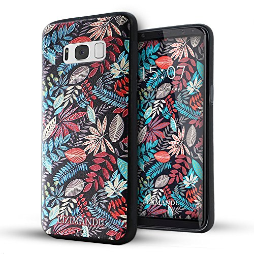 Galaxy S8 Funda,Lizimandu 3D Patrón Protectiva Carcasa de Silicona Gel TPU estrecha Case Cover Para Samsung Galaxy S8(Hojas De Arce/Maple Leaves)