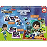 Educa Borrás - Superpack Miles From Tomorrowland, 4 juegos en 1: dominó, Identic, 2 puzzles (16730)