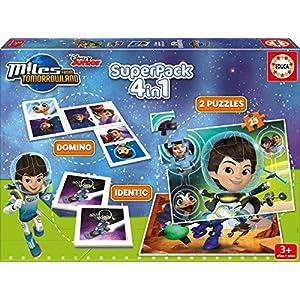 Educa Borrás – Superpack Miles from Tomorrowland, 4 Juegos en 1: dominó, Identic, 2 Puzzles (16730)