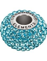 Grand Trou Perles de Verre a enfiler de Swarovski Elements 'BeCharmed Pave' 14.0mm (Aquamarine, Acier affiné), 12 Pièces