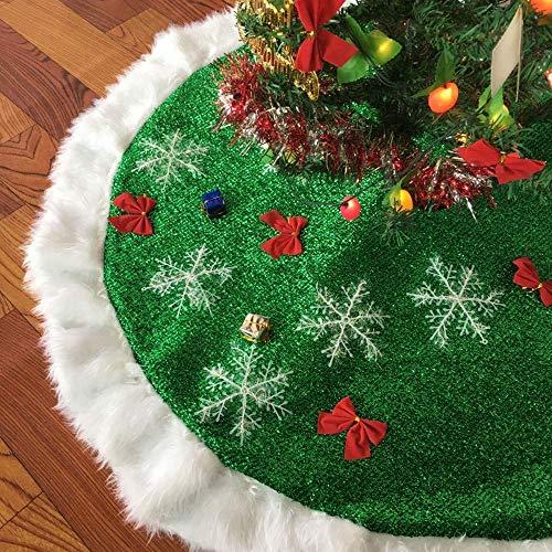 JCT Weihnachtsbaum Röcke 2018 grüne Kunstpelz Baum Rock Weihnachtsbaum Ornamente Plüsch mercerisiert Samt für Weihnachtsschmuck (Green, 90cm)