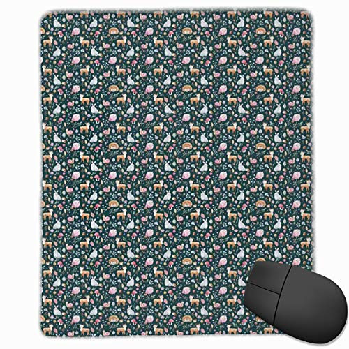 Mouse Mat Stitched Edges, Woodland Nature Illustration Mushroom Nuts Deer And Owl On Dark Green Background,Gaming Mouse Pad Non-Slip Rubber Base -