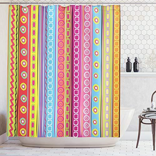 ABAKUHAUS Duschvorhang, Retro Streifen Farbvoll Hipster Muster Quadrat Vintage Lebhaft Farbenvoll Digital Druck Bunt, Blickdicht aus Stoff inkl. 12 Ringen Umweltfreundlich Waschbar, 175 X 200 cm -