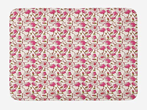 Flower Bath Mat, Romantic Spring Branches Bursting into Flowers Pink Magnolia Garden Botany, Plush Bathroom Decor Mat with Non Slip Backing, 23.6 W X 15.7 W Inches, Pink White Green Magnolia Flower Bowl