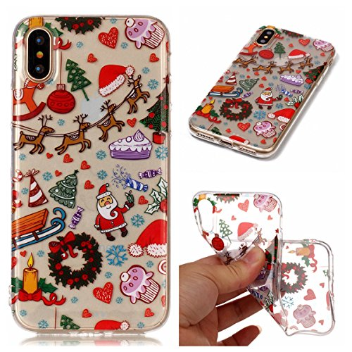 Noël Coque iPhone X LifeePro Ultra Mince Transparent Doux TPU Gel Silicone Antichoc Anti-rayures Full Body Étui Housse de Protection Christmas Cover pour iPhone X Branch Elk Christmas Playground
