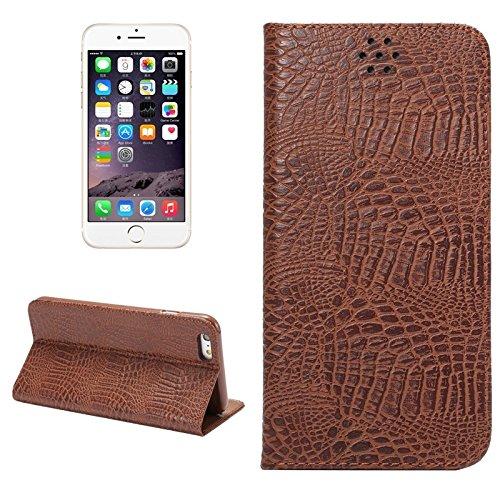 Phone case & Hülle Für IPhone 6 Plus / 6S Plus, Krokodil Textur Magnetische horizontale Flip Leder Tasche mit Halter & Card Slot ( Color : White ) Coffee
