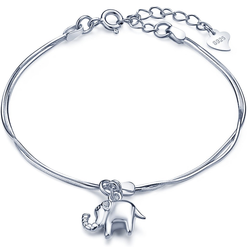 Infinite U Women Girls Charm Bracelet 925 Sterling Silver, Cute Elephant bangle, Lucky Four-leaf Clover bangle, Adjustable Hand Link, Double Chains Extension, Silver