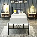 Aingoo Bettgestell 90 x 200 CM Ehebett mit Lattenrost für Gästezimmer Schlafzimmer Bett In Schwarz Herz Symbol Muster