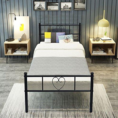 Aingoo Lit simple en métal 3ft Cadre en forme de coeur avec grand espace de rangement pour les enfants ou adultes 190*90, Noir