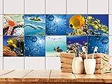 GRAZDesign 770513_15x15_FS10st Fliesen-Aufkleber Set Unterwasserwelt |Wellness -Bereich | Dusch-Fliesen überkleben (15x15cm//Set 10 Stück)