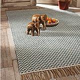 The Indian Arts Fair Trade handgewebt Zig Zag Weave Baumwolle Teppich, 100% Baumwolle mit Fransen Rand (75x 120cm) blau