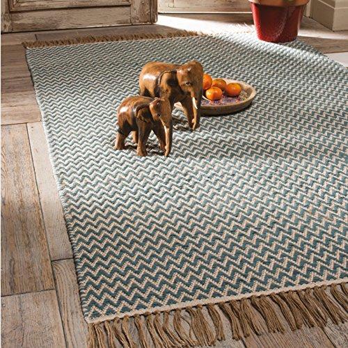 Comercio justo Handloom Zig Zag tejido algodón alfombra, 100% algodón, con flecos bordes (120 x 180 cm), algodón, azul