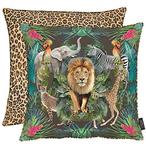 APELT Lion 46X46 70 Kissenhülle, Polyester-Baumwolle, dunkelbraun / bunt, 46 x 46 x 0.3 cm (Lions Polyester)