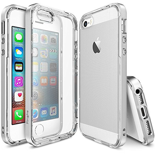 Ringke Drop Clear Soft Shock Absorption Protection Bumper Case for Apple iPhone SE/5/5S - Black-parent, gris clair, moyen Ice Silver