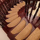 ANHPI 65 * 25 * 5cm 15-Teiliges Set Treppenstufen-Teppich Schutzkissen Mehrere Farben Selbstklebend Sisal Halbrund Langlebig,B-65 * 25 * 5cm