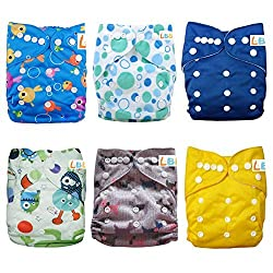 LBB(TM) Baby Resuable Washable Pocket Cloth Diaper With Adjustable Snap,6 pcs+ 6 inserts for Boy