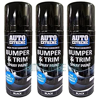 3 X Black Auto Extreme Plastic Bumper & Trim Spray Can Restorer Car Bike Auto Paint 200ml Cans NEW HLU