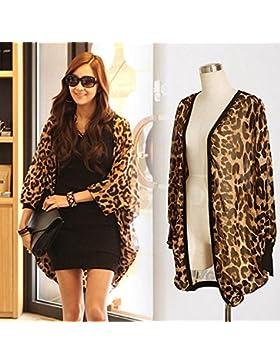 hrph Camiseta de manga larga atractiva del leopardo de impresión Batwing blusa para las mujeres de la gasa suelta...