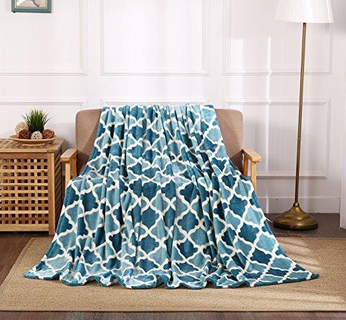 tion New Super Soft bedruckt Überwurf Decke, Polyester-Mischgewebe, Teal/Aqua Trellis, Kingsize ()