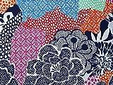 John Kaldor Blütenmuster Baumwollsatin Kleid Stoff marineblau/rot–Meterware