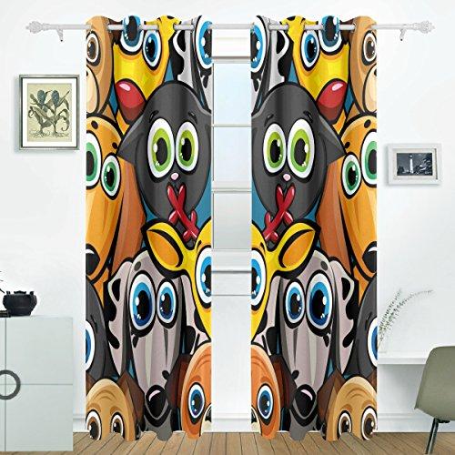 JSTEL Lustige Tiere Katzen Hunde und Deer Vorhänge Panels Verdunklung Blackout Tülle Raumteiler für Terrasse Fenster Glas-Schiebetür Tür 139,7x 213,4cm, Set von 2 (Hund Terrasse Tür-panel)