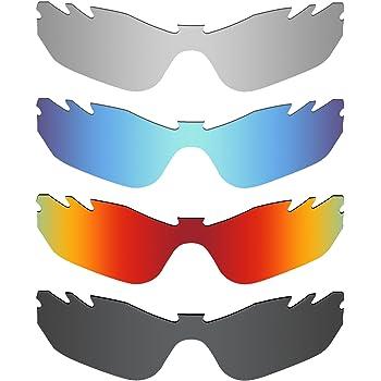 MRY 4 pares polarizadas lentes de repuesto para Oakley Radar Edge con ventilación sunglasses-stealth negro/fuego rojo/hielo azul/plata titanio