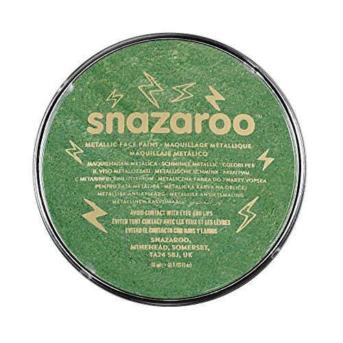 Snazaroo 1118422 Kinderschminke, hautfreundliche hypoallergene Gesichtschminke auf Wasserbasis, wasservermalbar, parabenfrei, metallic - grün, 18 ml Topf (Wasser-basierten Make-up Halloween)
