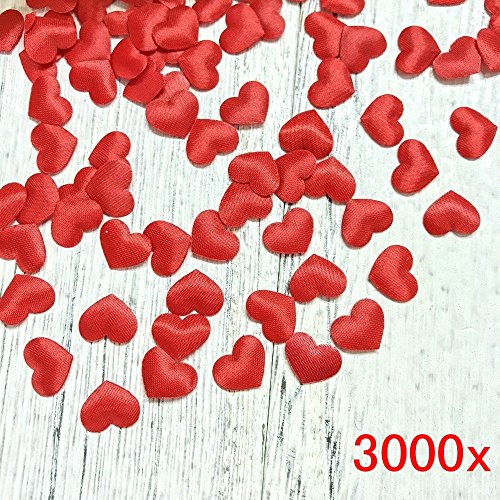 JZK® 3000 x 13mm rot Herz Konfetti biologisch abbaubare Stoff 3D Tisch Confetti, Handwerk Geschenk Dekorative Zubehör, für Hochzeit Geburtstag Valentinstag Party Taufe Baby Party (rot 3D Herz)