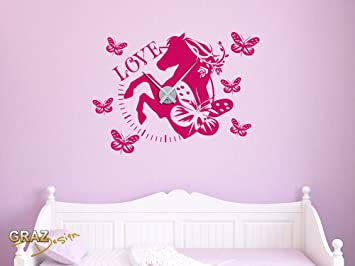 sticker mural décoration avec horloge cheval horse love papillon