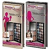 Shopping Queen, Party-Glamour Booklet Gold + Winterbeauty Booklet Silber (je 1x Palette mit 18 Lidschatten, 2 Kompakt-Puder, 2 Rouge und ein Duo-Applikator + Spiegel)