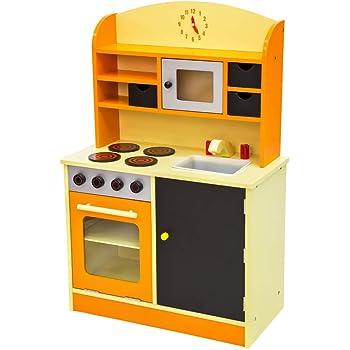 TecTake Cuisine en Bois pour Enfants Jeu du Rôle - diverses couleurs au choix - (Orange)