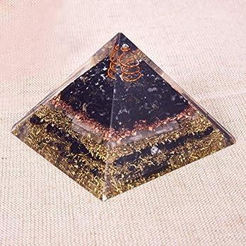 Natürliche Kristall Turmalin & Selenit Orgon Pyramide für EMF Schutz Chakra Heilmeditation Orgonit Pyramiden