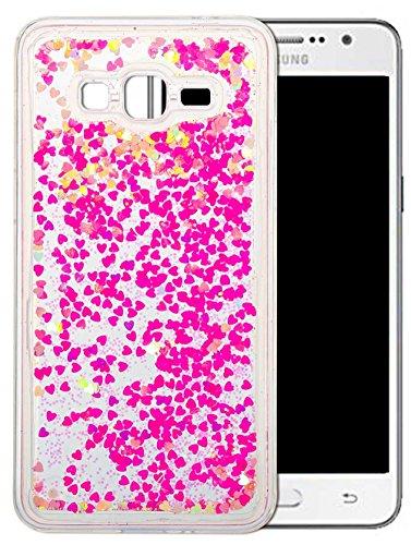Slim Soft TPU Dünn Samsung Galaxy Grand Prime G530 Hülle Silikon Bunt Muster [Rosa Herz] Samsung Galaxy Grand Prime G530 Hülle Silikon Glitzer Transparent Durchsichtig Glitter Ultra Liquid Glänzend Bling Fließen Flüssig Flüssigkeit Schutzhülle Tasche -