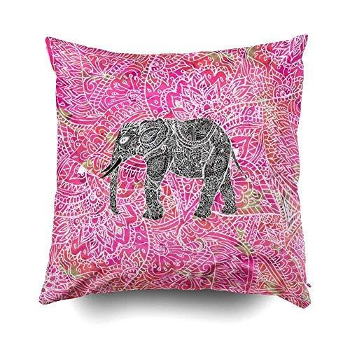Desconocido Funda de cojín con diseño de Elefante y Henna para sofá, decoración del hogar, de 18 x 18 Pulgadas