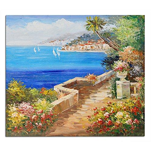 Raybre Art® 50 * 60 cm 100% Dipinti a mano Olio - Quadri su Tela come Panorama Paesaggio Quadri Retrò Vintage Casa Fiori Mare - Decorazione della Parete di Arte, Senza Cornice (Mare