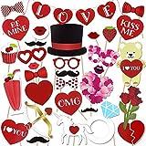 Konsait 36pcs saint valentin decoration accessoires Photo Booth mariage Drôle DIY Kit Photo booth Props déguisement Masquerade avec love bannière pour mariage st valentin décorations cadeau
