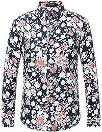 SSLR Camisa para Hombre Manga Larga Casual Estampada de Flores?