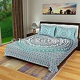 OMBRE Mandala Bettwäsche-Set, Doppelbett Tabelle, indische Baumwolle Tagesdecke, Hippie Bett mit zwei Kissenbezügen Pattern1
