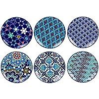 Ard'Time EC-6AZCOUPRD 6 Petites Coupelles Rondes Design Azulejos/Style Ethnique, Oriental, Bleu, Méditéranée, Monde, Asiatique, Japonais, Céramique, Bleu/Blanc, 9 cm