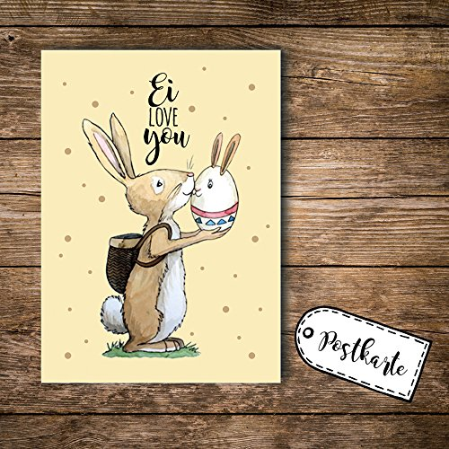 ilka parey wandtattoo-welt A6 Postkarte Ansichtskarte Osterkarte Flyer Ostern Häschen Hase Osterhase mit Spruch Ei Love You pk100