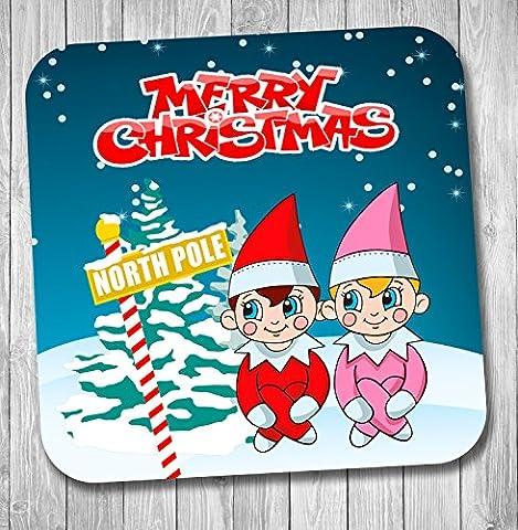 Junge & Mädchen Elf Weihnachten Drink Coaster–Strumpffüller–Santa Geschenk–Elfe (Festliche Zitate Für Weihnachten)