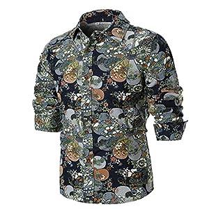 Moonuy Männer Langarm-Shirt Männer Bluse Frühling Leinen Persönlichkeit Sommer Casual Slim Printed Shirt Umlegekragen Top Bluse für Studenten