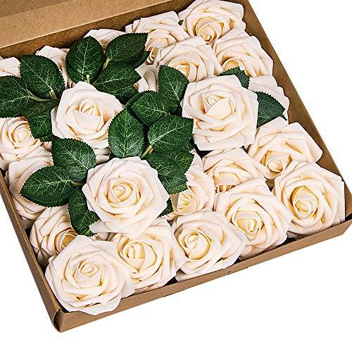 ShenHO 25 Stück große PE-Schaumrose - künstliche Blumenköpfe für DIY Hochzeit Blumensträuße Tafelaufsätze Braut Dusche Party Zuhause Dekoration (Champagne, 25pcs)